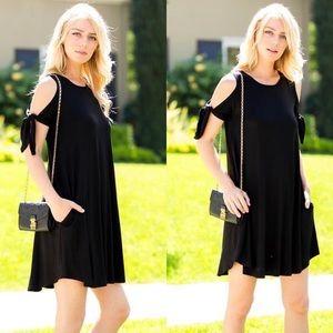 Dresses & Skirts - Black Cold Shoulder Bow Tie Mini Dress